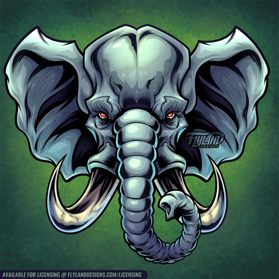 Grey elephant head with big tusk