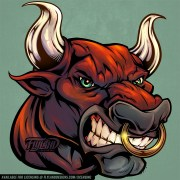 Red head bull with gold ring in