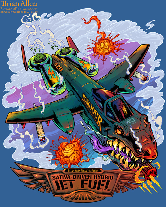 T-Shirt of a A-10 Thunderbolt warplane in a dogfight for Jet Fuel marijuana strain