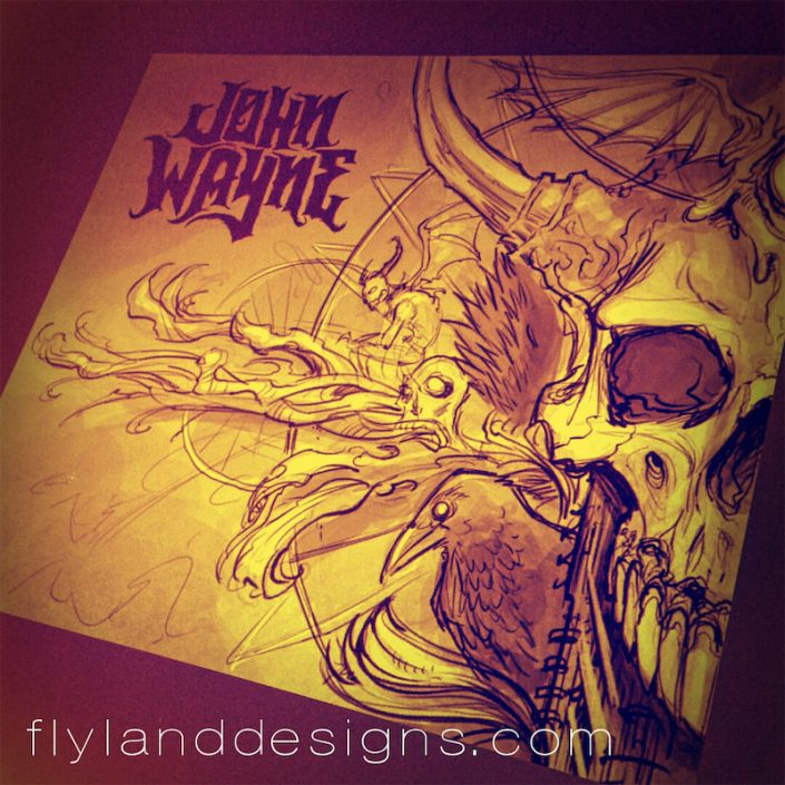 Dark illustration of a skull, crow, and zombie for an album cover