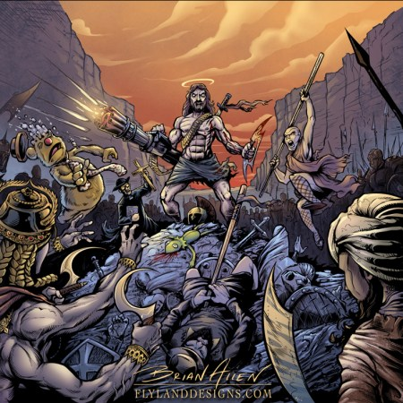 Album cover illustration of a holy war