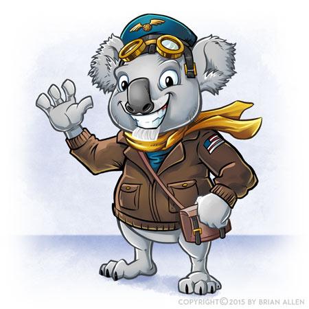 Cartoon Koala mascot character