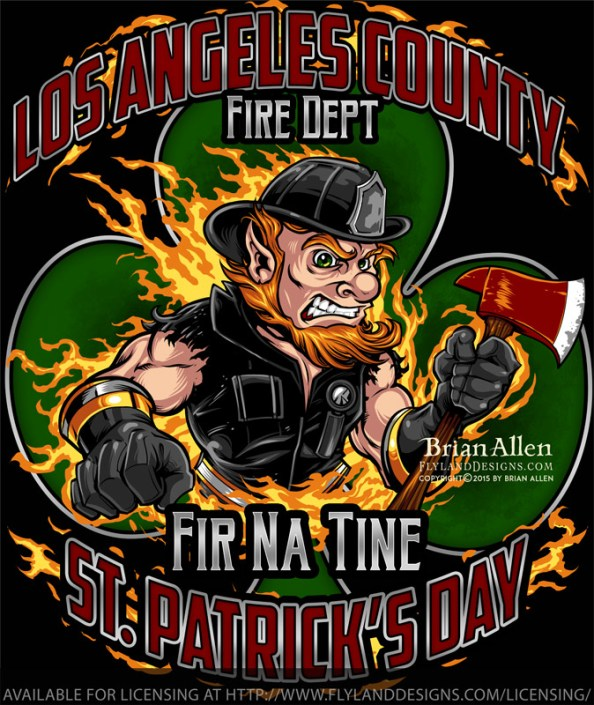 Leprechaun fire-fighter with axe
