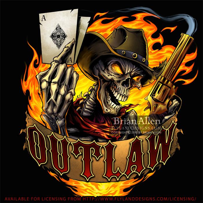 Evil outlaw cowboy skeleton hold
