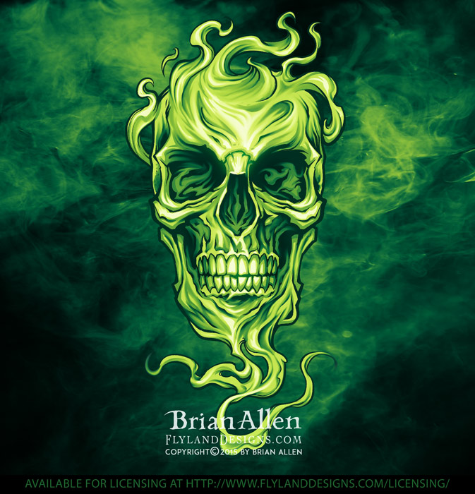 Evil smoky green skull