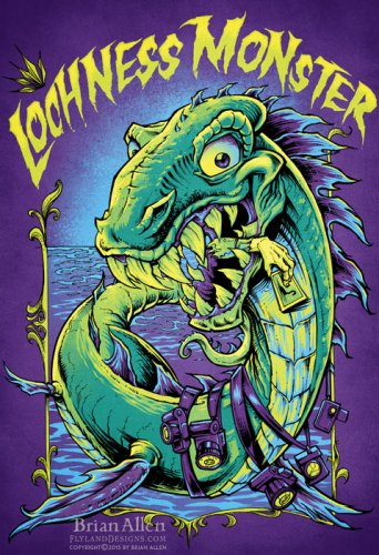 Silk-screen poster illustration of a happy Loch Ness Monster smiling with cameras around his neck.