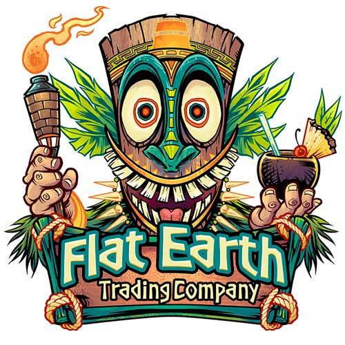 Tiki head holding a torch and tr