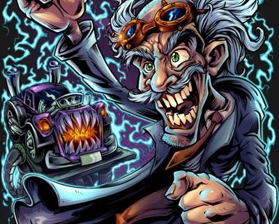 Mad scientist mechanic working on a frankenstein hotrod monster car