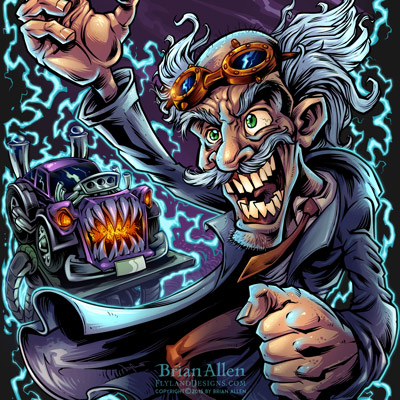 Mad scientist mechanic working on a frankenstein hotrod monster car