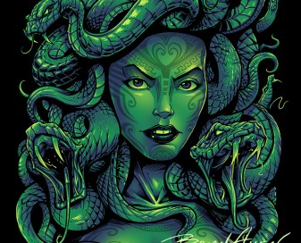 Dark illustration of Medusa for a T-Shirt design