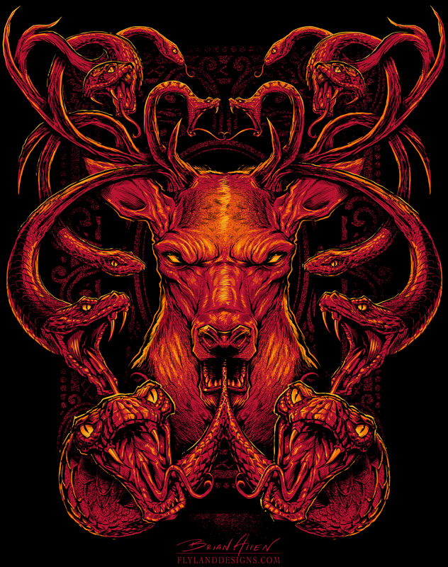 Medusa Buck T-Shirt illustration with snakes for antlers