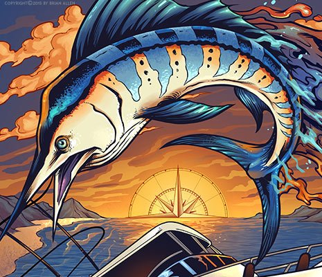Boating illustration of a marlin jumping out of the water