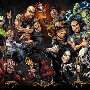 Character design illustration of horror movie monsters and heavy metal icons I created for a website