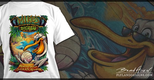 T-Shirt illustration of a Pelican holding a volleyball on the beach