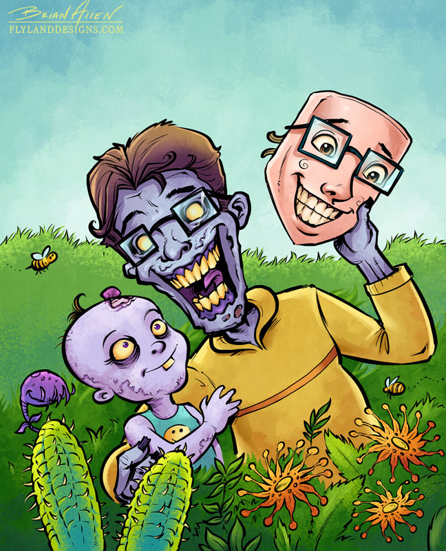 Children's book illustrations featuring a family of creepy but fun zombies.