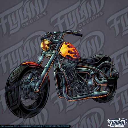 Harley like motorcycle with flames painted on it.