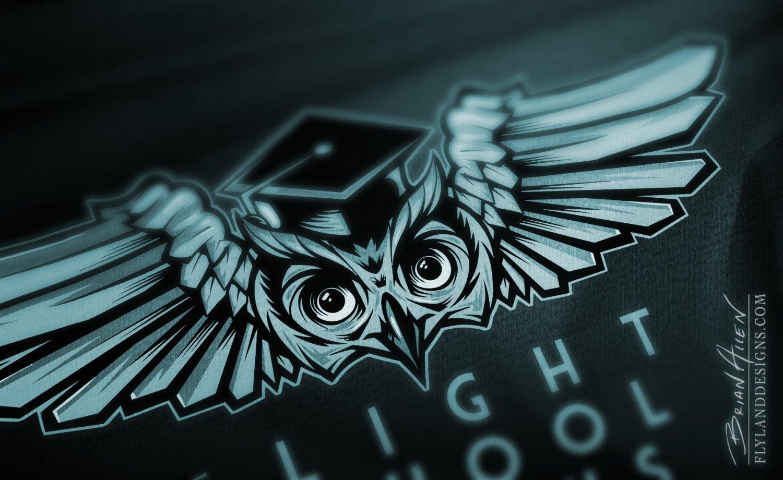 Owl emblem logo design detail view