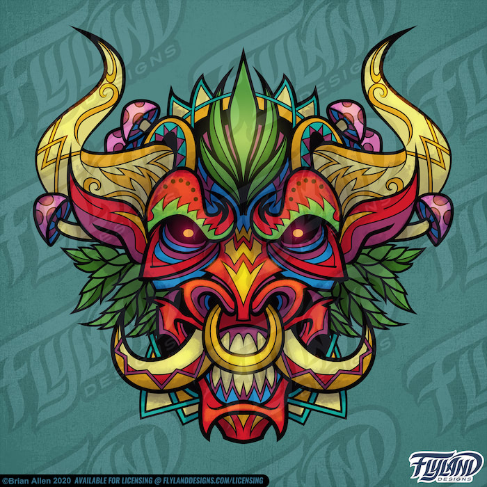 Psychedelic Bull is a red bull with yellow horns and tusks. Pink/ red Mushrooms and marijuana are growing all over the creatures. Stock Artwork by freelance illustrator Brian Allen