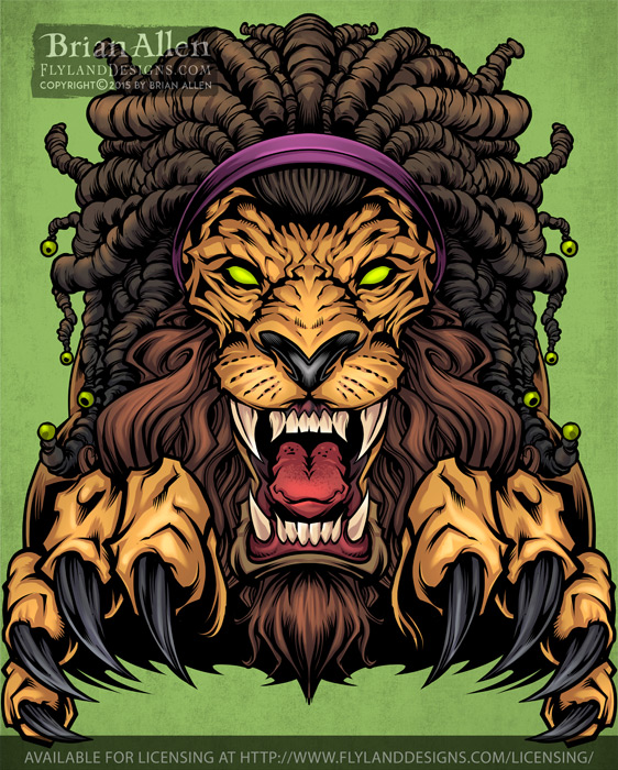Illustration of a Rasta Lion wit