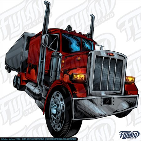 Red Diesel Semi Truck with Chrome