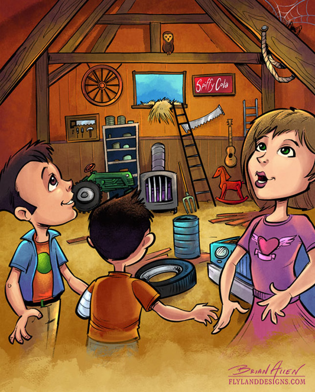 Children's book illustrations I created for a story written by Kelly Dale, co-star of American Restoration on the History Channel.