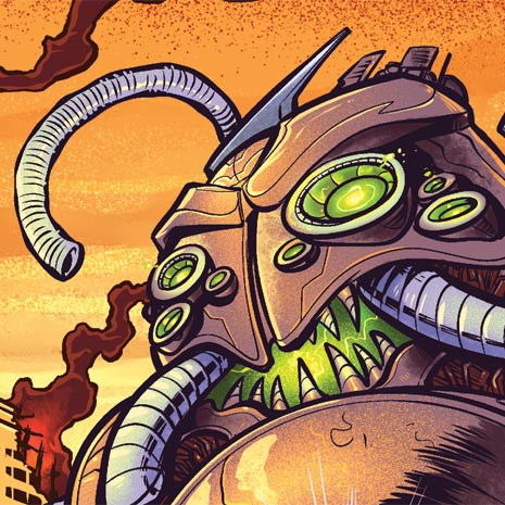 Editorial illustration of a giant robot attacking a city of plant people