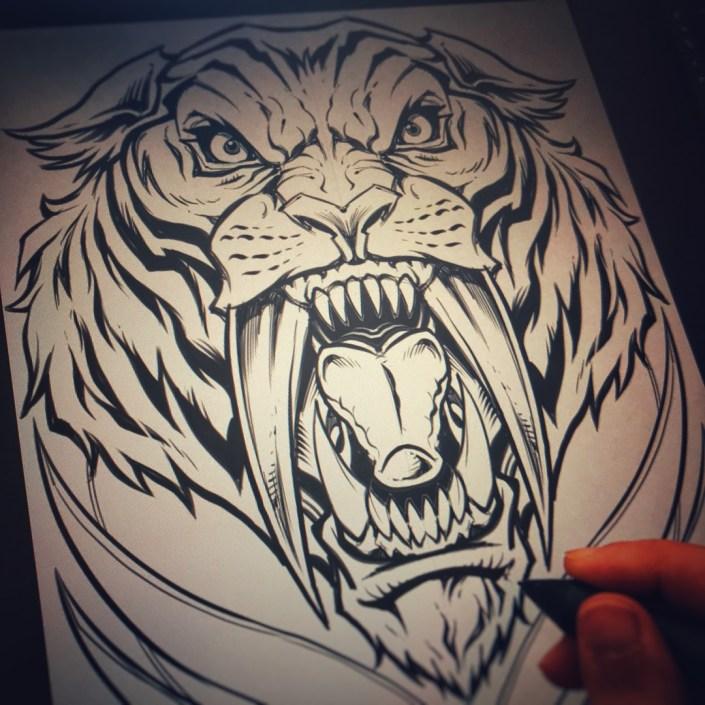 Intense illustration of a sharp-