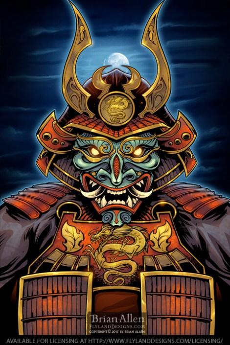 Dark Samurai warrior in armor in
