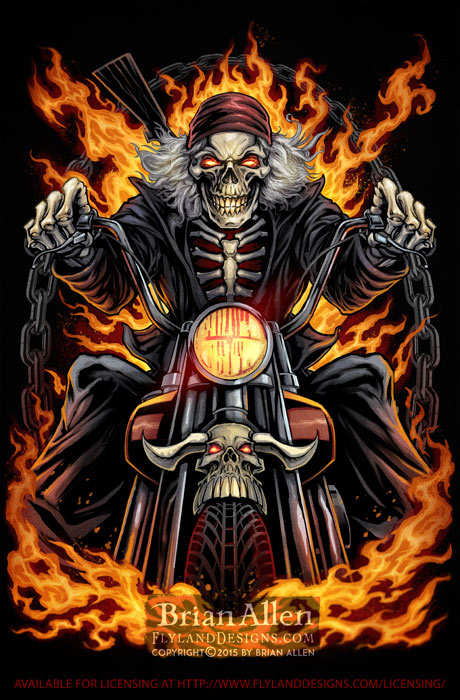 Skeleton riding through flames on a motorcycle
