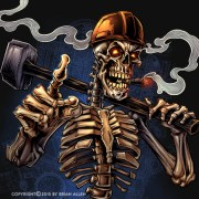 Skeleton holding a sledgehammer wearing a hard-hat.