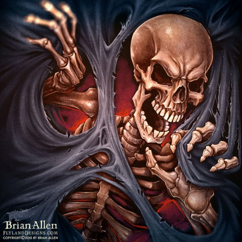 Illustration of evil skeleton ri