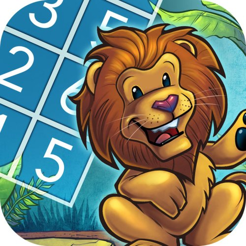 illustration of a cartoon lion in a jungle for a ipad app