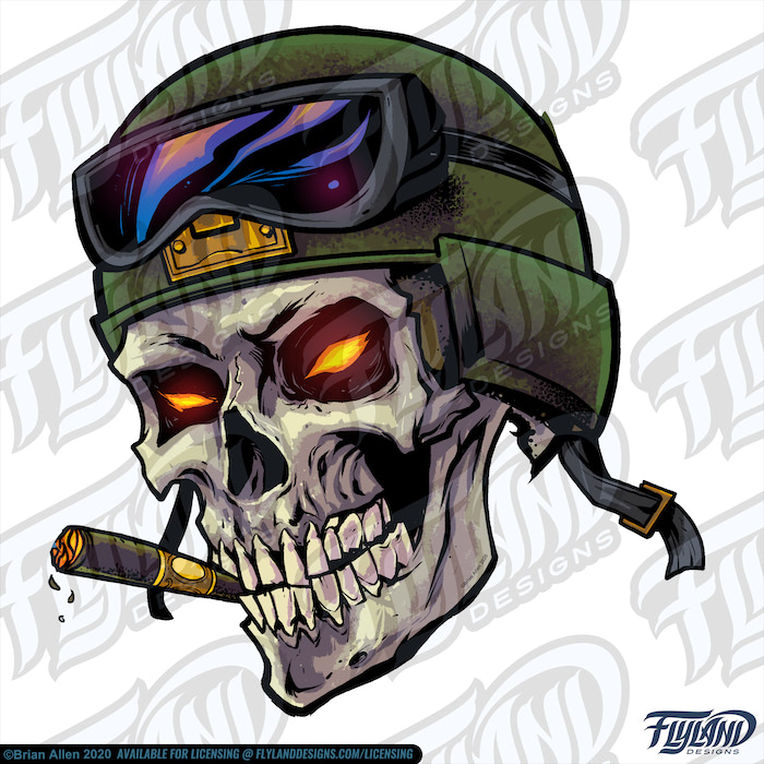 The green helmet sits unlatched upon a  sand-colored skull with glowing yellow-orange eyes; it smokes a cigar with its ivory-colored teeth. Its goggles sit around the helmet. Stock Artwork by freelance illustrator Brian Allen