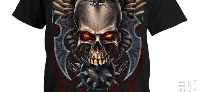 Skull and wings and mace dark digital painting