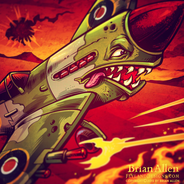 Russebuss logo of a military Spitfire plane in a dogfight with shark's mouth