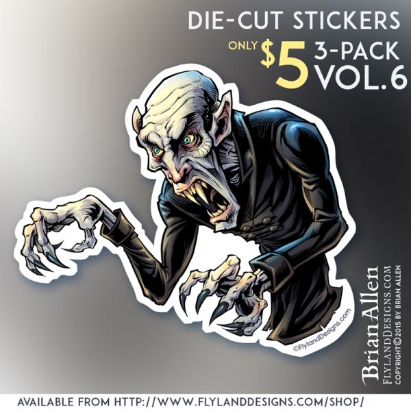 Die-cut sticker of horror movie monster Nosferatu
