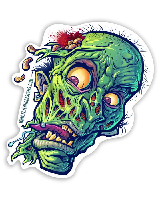 Zombie Head Vinyl Sticker - Flyland Designs, Freelance ...