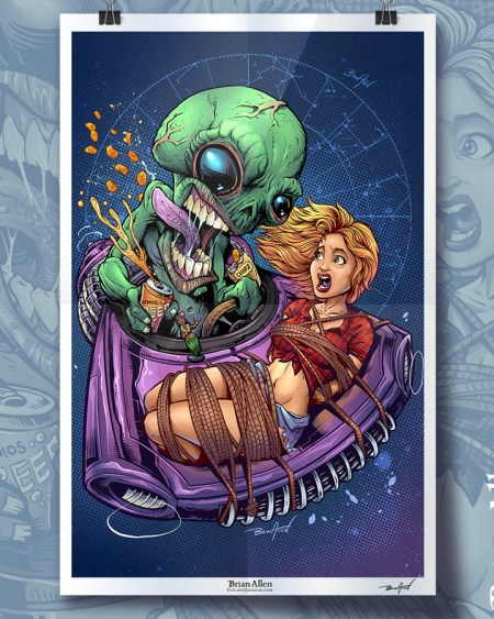 Art print of an alien with a female earthling strapped to the hood of its spaceship