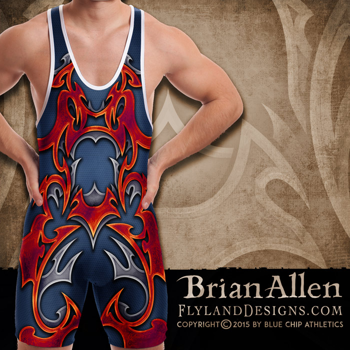 3D tribal shape illustration for dye-sublimated wrestling singlets.