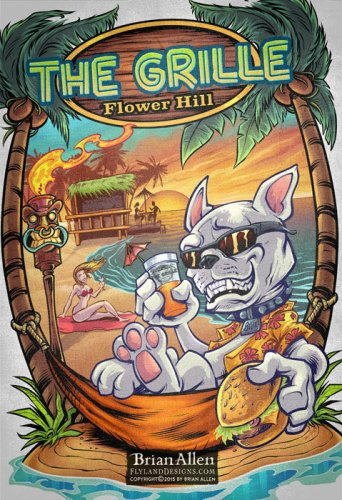 French Bulldog cartoon character sitting on tropical resort beach with drink