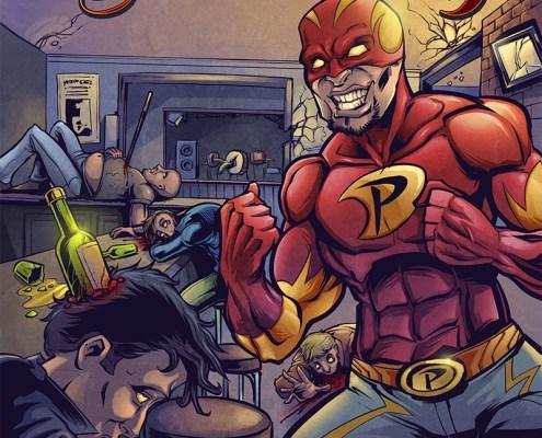 Superhero comic book illustration of a bar fight