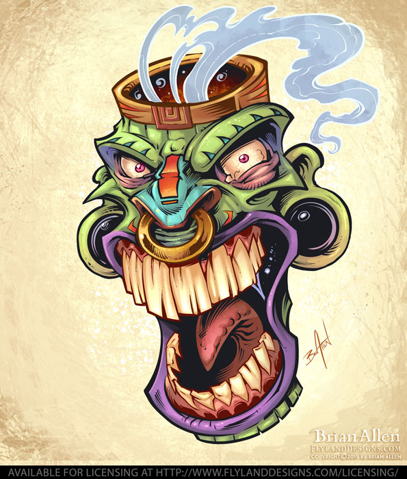 Screaming tiki head with smoke coming out of it.