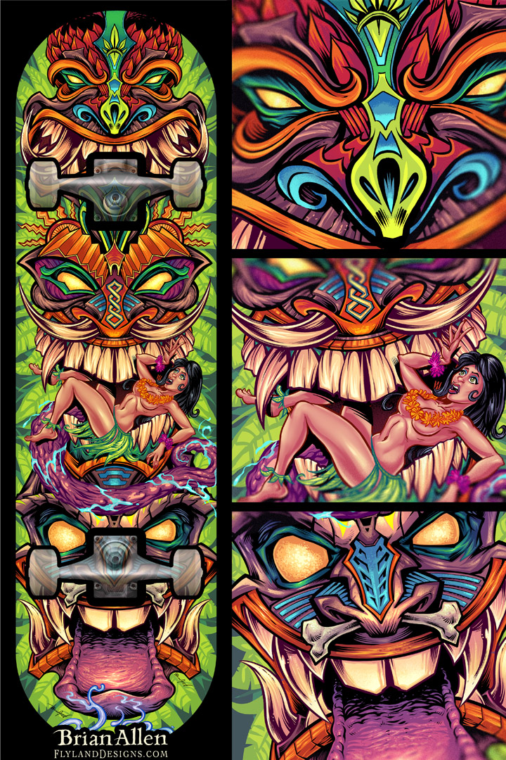 illustration of a tiki totem wit