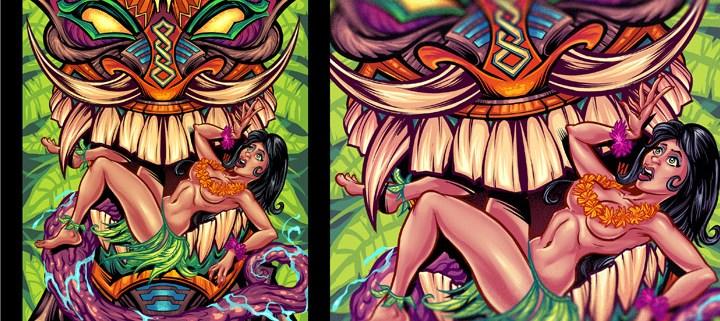 illustration of a tiki totem wit