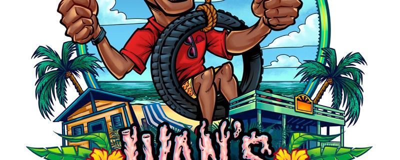 Beach bar logo with caricature o