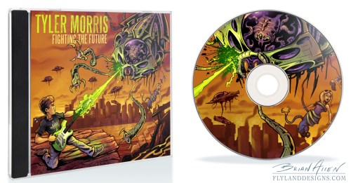 Album cover illustration of a rock guitar player fighting an alien invasion