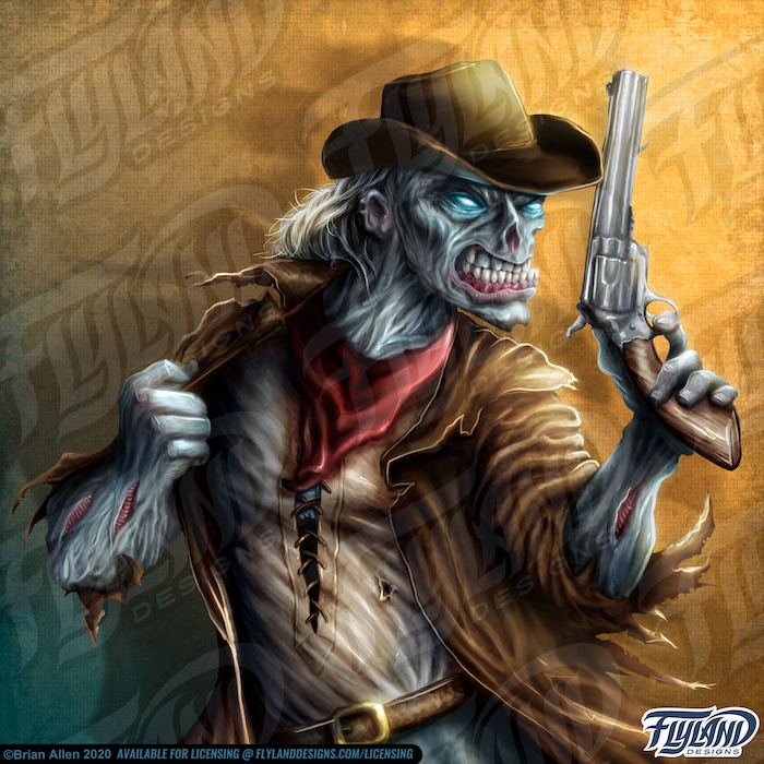 An Undead Cowboy with an Peacemaker Stock Artwork by freelance illustrator Brian Allen