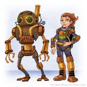 Deep sea diver Steampunk family character design and robots