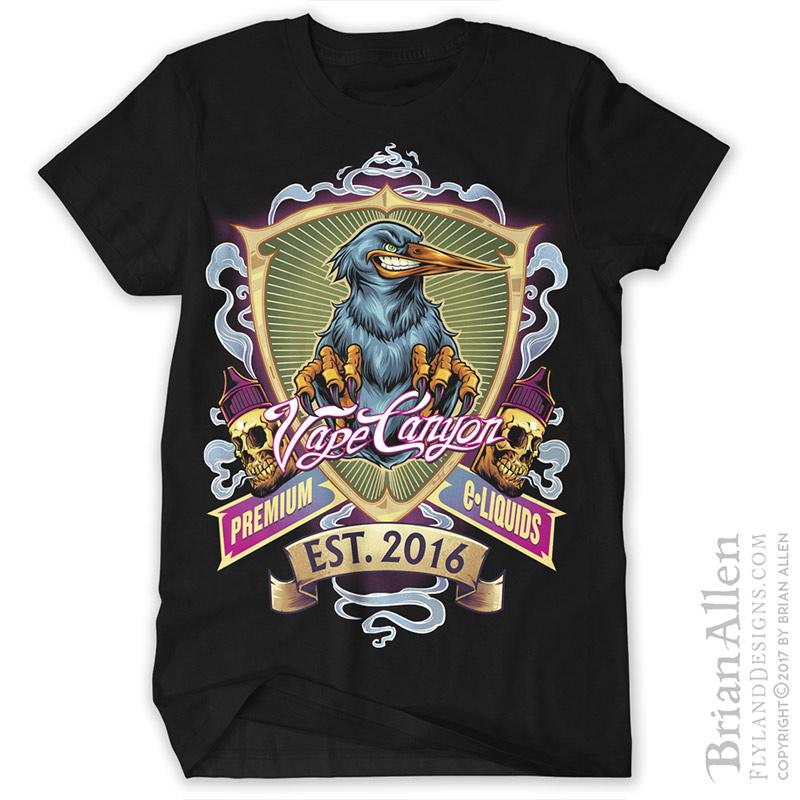 Psychedelic t-shirt design featu