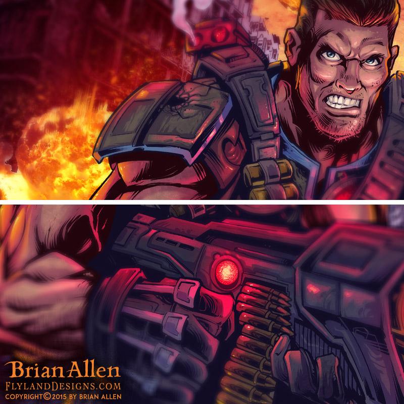 Futuristic soldier illustration for dye-sublimated wrestling singlets.